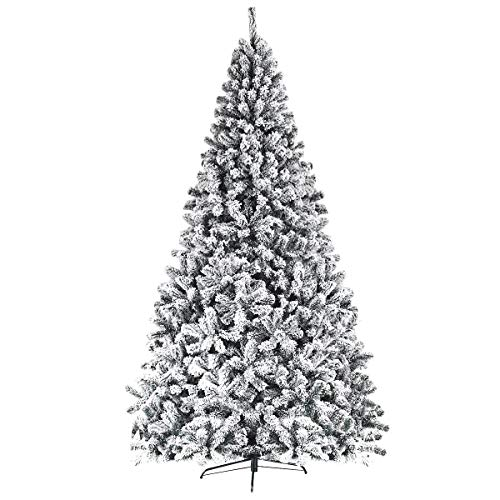 Goplus Artificial Christmas Tree, Snow Flocked Hinged Pine Tree, Premium PVC Needles/Solid Metal Stand, Xmas Full Tree for Indoor and Outdoor (9FT) (Christmas Flocked Trees)