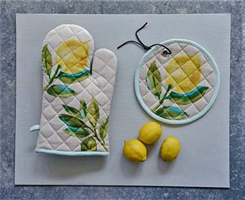 Creative Co-op Sweet Summer Lemons Quilted Oven Mitt & Pot Holder Set