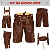 German Bavarian Oktoberfest Trachten Men Wear Short Lederhosen Light Brown Plain (USA 32, Light Brown Plain)