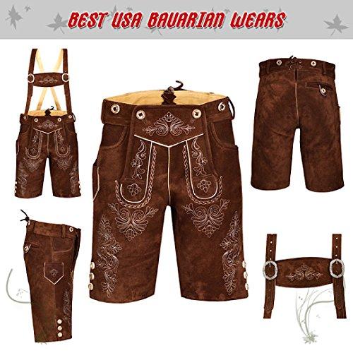 German Bavarian Oktoberfest Trachten Men Wear Short Lederhosen Light Brown Plain (USA 32, Light Brown Plain) by QUALITY WEARS USA