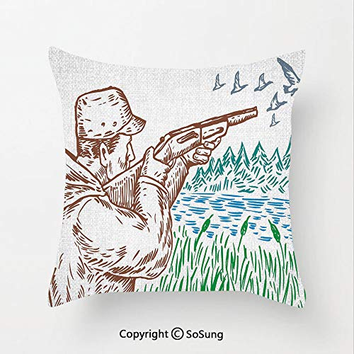 Hunting Decor Linen Throw Pillow Cushion,Hunter Aiming at Geese Lake Trees and Grass Greenery Forest Swamp Sketch Art Decorative,17.7x17.7Inches,for Sofa Bedroom Car & Home Decorate Multicolor