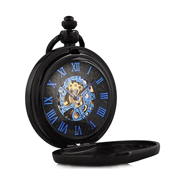 Carrie Hughes Vintage Old Ship Rudder Blue Hands Steampunk Skeleton Mechanical Pocket Watch with Chain Gifts 4