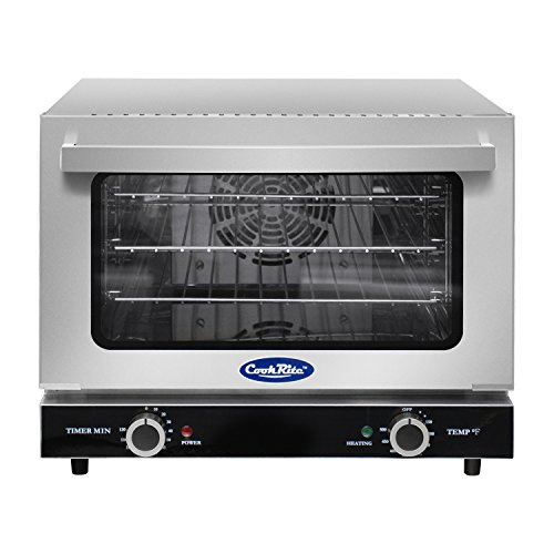 (Commercial Electric Convection Oven,COOKRITE CRCC-25 Commercial Small Electric Countertop Convection Oven Stainless Steel Countertop Ovens Compact Toaster 1/4 Shelves)