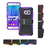 Galaxy S7 Case, HLCT Rugged Shock Proof Dual-Layer Case with Built-In Stand Kickstand for Samsung Galaxy S7 (2016) (Purple)