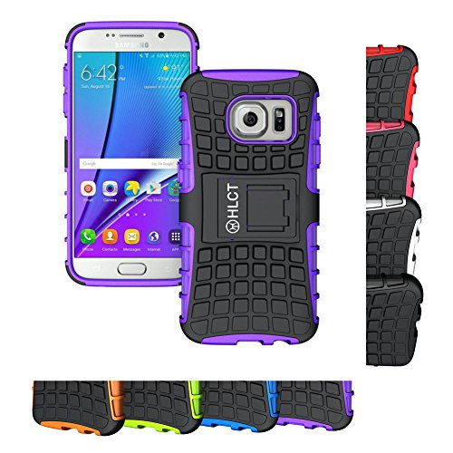 Galaxy S7 Case, HLCT Rugged Shock Proof Dual-Layer Case with Built-In Kickstand for Samsung Galaxy S7 (2016) (Purple)