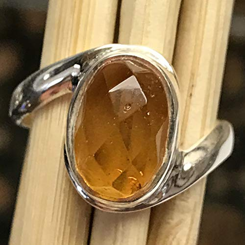 (Genuine Cognac Faceted Baltic Amber 925 Solid Sterling Silver Dangle Rose Cut Ring sz 6.75)