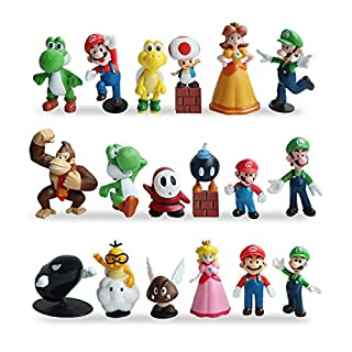HXDZFX 20 PCS Super Mario Action Figures,Super Mario Bros Figurines,Luigi,Yoshi,Peach Princess,Daisy Princess,Coin,Brick,Perfect Mario Cake Topper Decorations