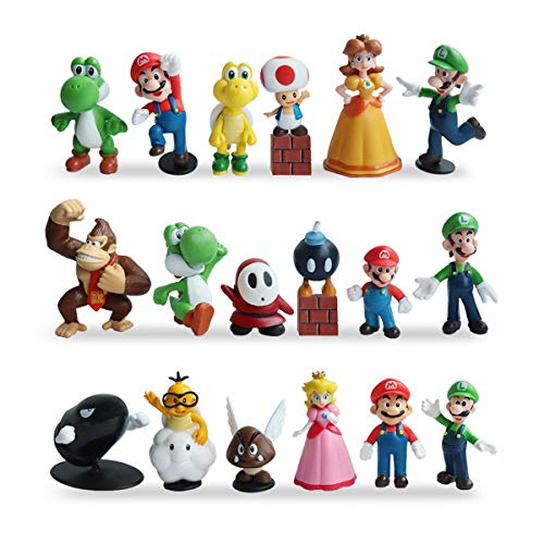 HXDZFX 20 PCS Super Mario Cake Topper Decorations,Super Mario Action Figures,Super Mario Bros Toys Figurines Peach Daisy Princess,Luigi,Yoshi,Perfect Mario Brothers Toys for Boys -