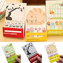 TUANTUAN 3 Pcs Cute Panda Birds Sticky Note Novelty Cartoon Animal Memo Pad Lovely Kitty Self-Stick Note Bookmark Page Flags Index Tab Reminder Sticky Notes