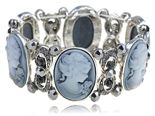 Antique Cameo Bracelet (Alilang Womens Stretchy Antique Silvery Tone Vintage Victorian Cameo Lady Maiden Bangle Bracelet)