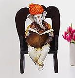 Karigaari Ganesha Resting on Rocking Chair Polyresine Idol (15.24 cm x 15.24 cm x 20.32 cm)