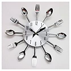 Modern Design Silver Cutlery Kitchen Utensil Clock Spoon Fork Knife Bendable New