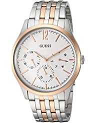 GUESS Mens Stainless Steel Casual Watch with Day, Date & 24 hr Intl Time Display, Color: Two-Tone (Model: U0995G3)