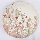 YOUWENll Round Decorative Throw Pillow Floor Meditation Cushion Seating/Wedding Themed Floral Illustration with Cute Little Hearts Blooming Abstract Art/for Home Decoration 17'x17' Light Pink