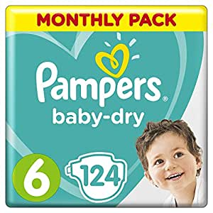 Pampers Baby-Dry Nappies Size 6 Junior (13kg-18kg), 124 Nappies, Monthly Pack