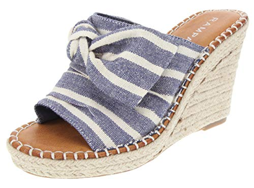(Rampage Women's Hannah Espadrille Wedge Slide Sandal with Knotty Bow Detail 9 Navy Stripe)