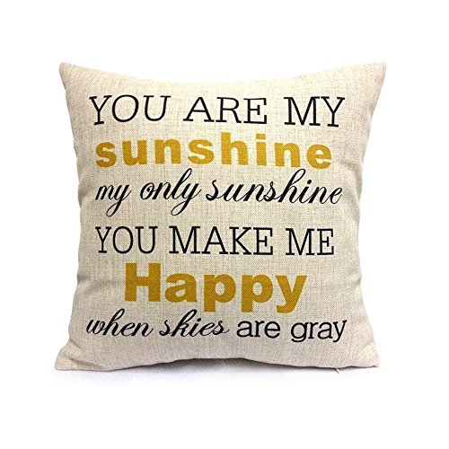 Pillow Cases Standard Size, CaseShell Music Lyric Pattern Cotton Linen Square Throw Pillow Case ...