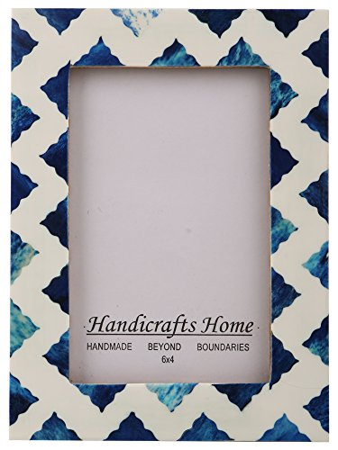 Handicrafts Home Picture Photo Frame Indigo Moorish Quatrefoil Handmade Naturals Bone Frames from Photo Size 4x6 (Indigo-4)