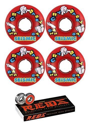 64 mm seismicスケートシステムCry Baby Longboard Skateboard Wheels with Bones Bearings – 8 mm Bones Reds Precisionスケート定格スケートボードベアリング – 2アイテムのバンドル   B01N1ZRNCC
