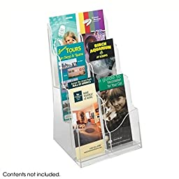 Safco Products 5635CL Acrylic Magazine Display Stand, 3 Pocket, Clear