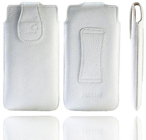 Original Suncase Echt Ledertasche für Apple iPhone 5 / 5S /5C vollnarbig-weiß