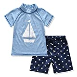 Little Boy 2 Piece Swimwear Set Tshirt and Shorts Suit for 3 to 7 Age Kids (80(3T), Blue)