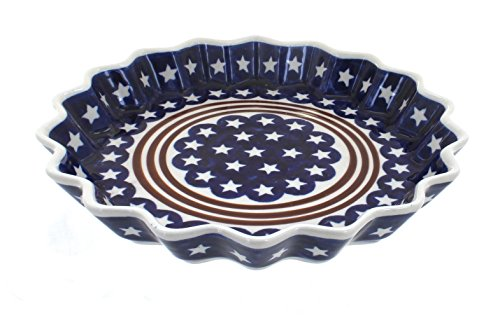 Polish Pottery Stars & Stripes Fluted Quiche Dish