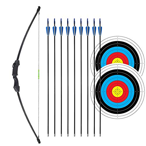 "iMay 45"" Recurve Bow and Arrows Set Outdoor Archery Beginner Gift Longbow Kit with 9 Arrows 2 Target Face 18 Lb for Teen (Black)"