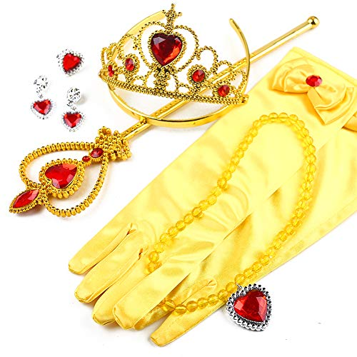 3 otters Princess Dress Up, Princess Costume Accessories Childrens Crown Magic Wand Gloves Necklace Earring Set Party Dress Up Girl Gift Yellow 6PCS