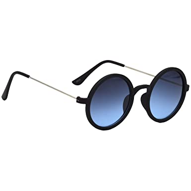 5203b6b5df HRINKAR Round Blue Lens Black And Silver Frame UV Protection Sunglasses For  Men And Women  Amazon.in  Clothing   Accessories