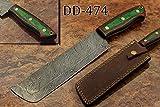 12.5'' Hand Forged Damascus Steel Nakiri Knife, Kitchen Knife, Vegetable Knife, 2 Tone Green & Maroon Wood Scale, Cow Hide Leather Sheath with Belt Loop