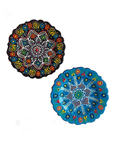 "Ayennur Turkish Decorative Plates Set of 2-7.08"" Multicolor Handmade Ceramic Ornament for Home&Office Wall Hanging Decors"