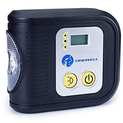 TIREWELL 12V Digital Tire Inflator, Portable Air Compressor with LED Light, Includes 3 Adapters