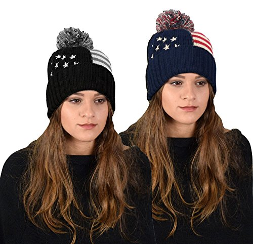 Peach Couture American Flag Pom pom Hats Beanie Skullies Value Pack of 2 (Navy Grey) (Hats For Wholesale)