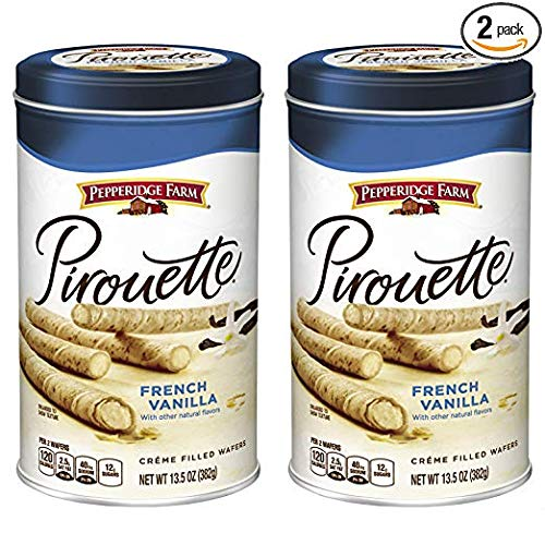 Pepperidge Farm, Pirouettes French Vanilla Créme Filled Wafers 13.5 oz. Can (Pack of 2)