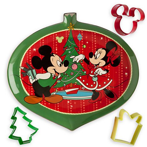 Mickey and Minnie Mouse Christmas Serving Plate and Cookie Cutter Set