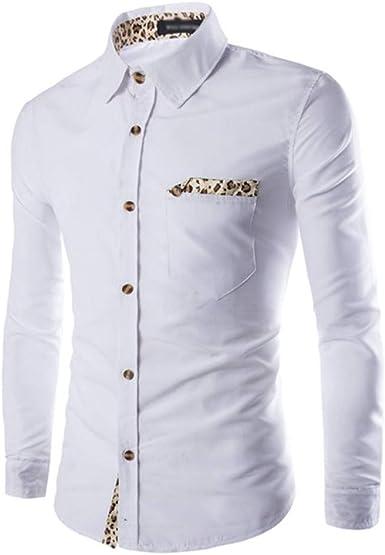Overdose Camisas Hombre Elegantes Sólido Slim Fit Estampado de Leopardo Popular Originales Ropa de Día: Amazon.es: Ropa y accesorios