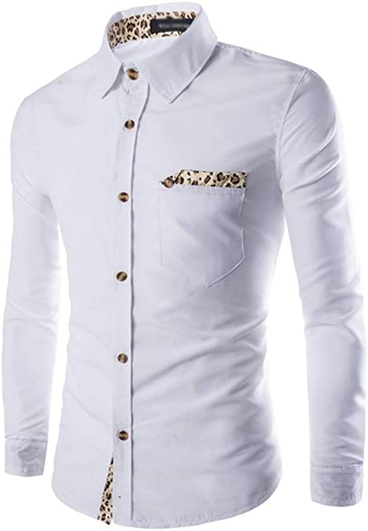 Overdose Camisas Hombre Elegantes Sólido Slim Fit Estampado de ...