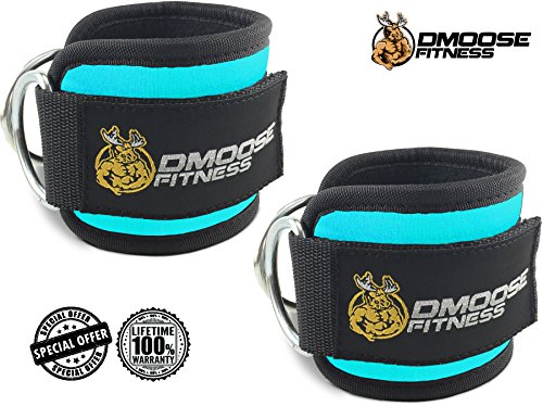 Velcro Attachment (Ankle Straps for Cable Machines by DMoose Fitness (Cyan, Single))