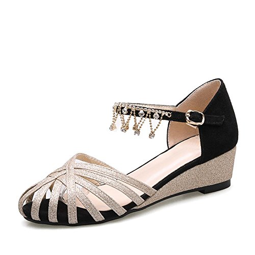 De L Gold Zapatos Hebilla Código Abajo Cuero Cuña Palabra La Sandalias Hollow Cabeza Diamantes yc Tamaño Mujeres I1nxBIr