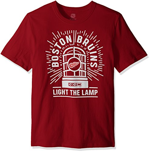 NHL Detroit Red Wings Adult Men Light the Lamp S/Brushed Tee,2X-Large,Red
