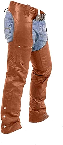 Mens Cowhide Premium Leather Elastic Fit Bicker Top-Grain Leather Bicker Chaps