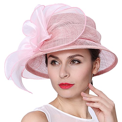 Koola's hats Women 3 Layers Sinamay Wedding Hats Pink Sun Hat Saratoga Race Course ()