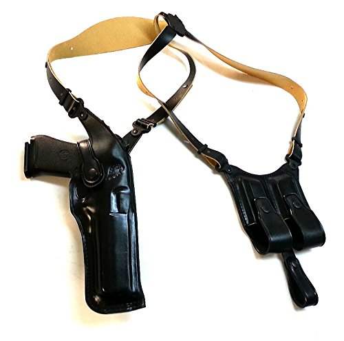 LEATHER SHOULDER HOLSTER FOR DESERT EAGLE FITS ALL CALIBERS WITH 6'' BARREL (RIGHT HAND DRAW,BLACK (Desert Eagle Caliber)