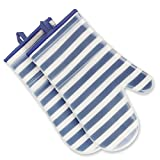 ANSMORE Oven Mitts, Heat Resistant to 572℉ and Waterproof, with Transparent Clear Silicone Shell and Nice Stripe Printing Cotton lining-Set of 2 (Blue)