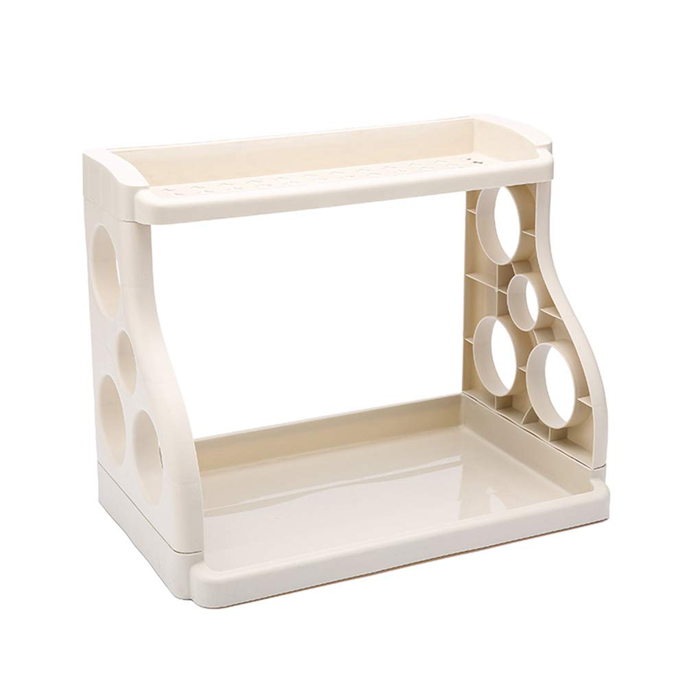 Shelf Storage Racks Storage Basket Shelf Baskets Cupboard Organizers Kitchen Seasoning Storage Rack Plastic Landing Tool Holder ZHAOYONGLI (Color : Beige)