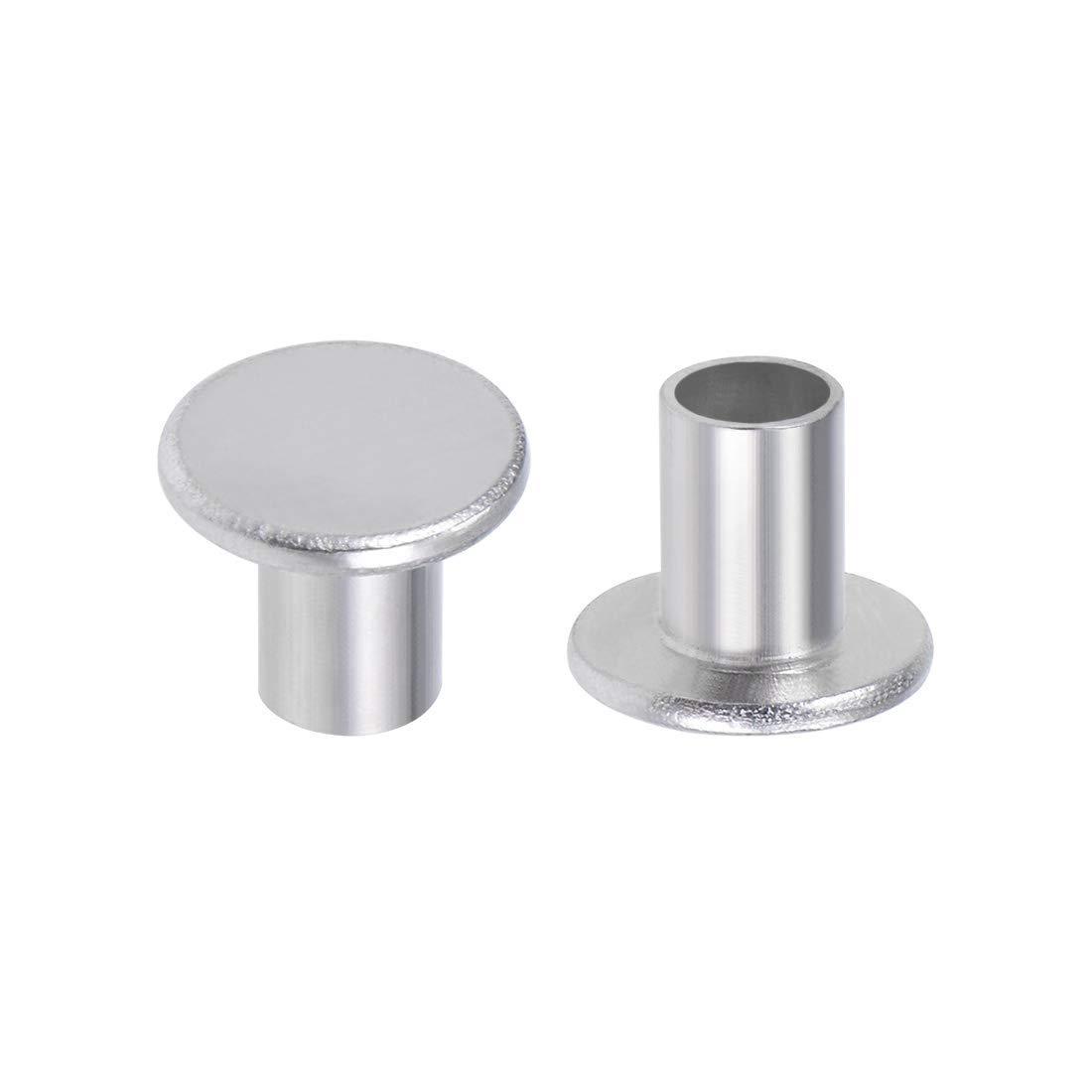 100Pcs 6mm x 8mm Aluminum Flat Head Semi-Tubular Rivets Silver Tone