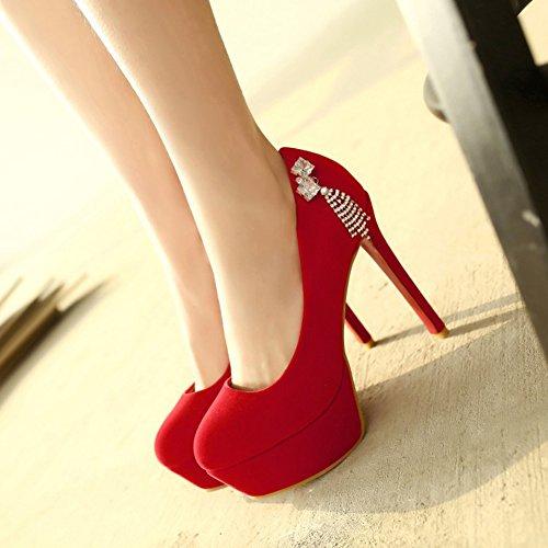 Aisun Damen Strass Troddel Plateau Stiletto Low Top High Heels Pumps für Party Rot
