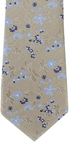 Taupe/Blue Twill Floral Silk Tie by Michelsons of London