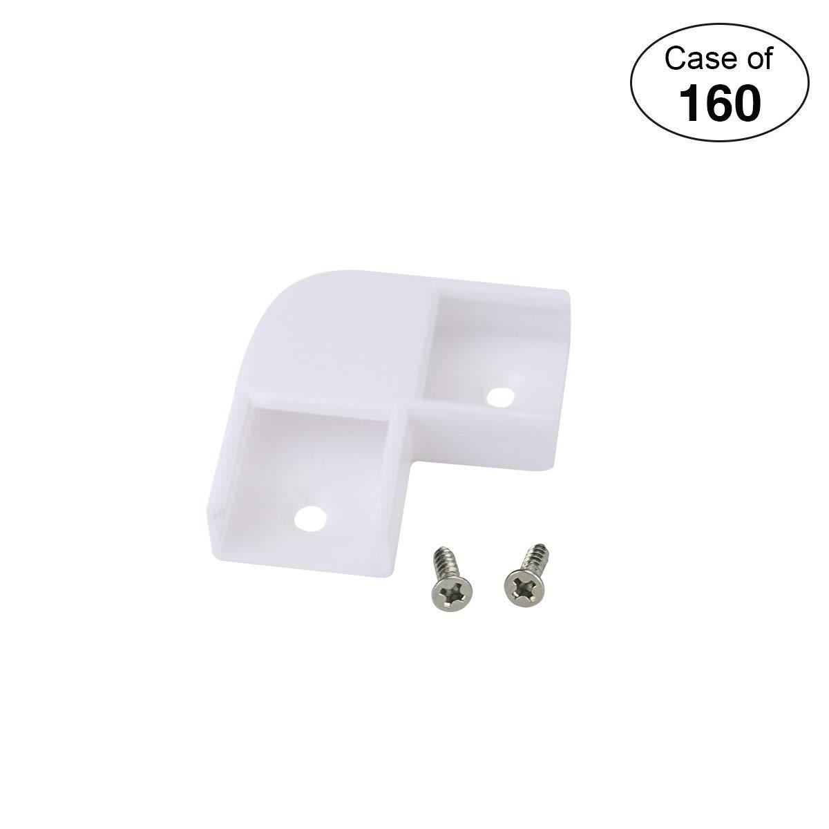 Muzata Led Channel Corner Connector kit L-Shape Adaptor 160PCS 90 Degree LC07,Series LA1 LC1 Case of 160